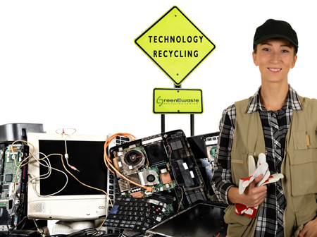 Young women recycling technology at San Jose Ewaste Drop Off Recycling Center