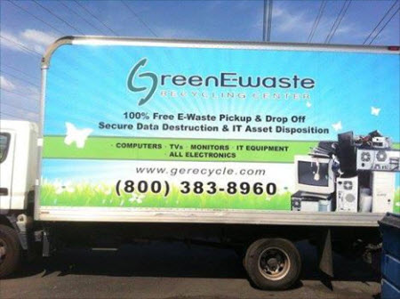 Large Green Ewaste Recycling Center truck showing a Free Business E-waste Pick Up in San Jose
