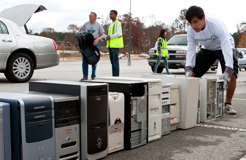 Old Computers Are Stacked At Electronics Recycling San Jose Collecting Ewaste