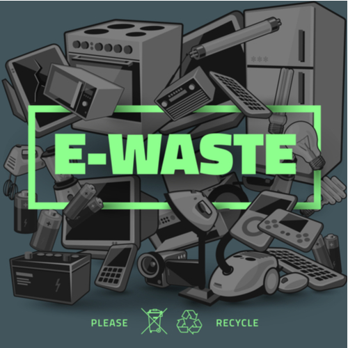 "tech waste recycling image showing different types of broken electronics and computer equipment in the background, where the word ""e-waste"" is front and center"